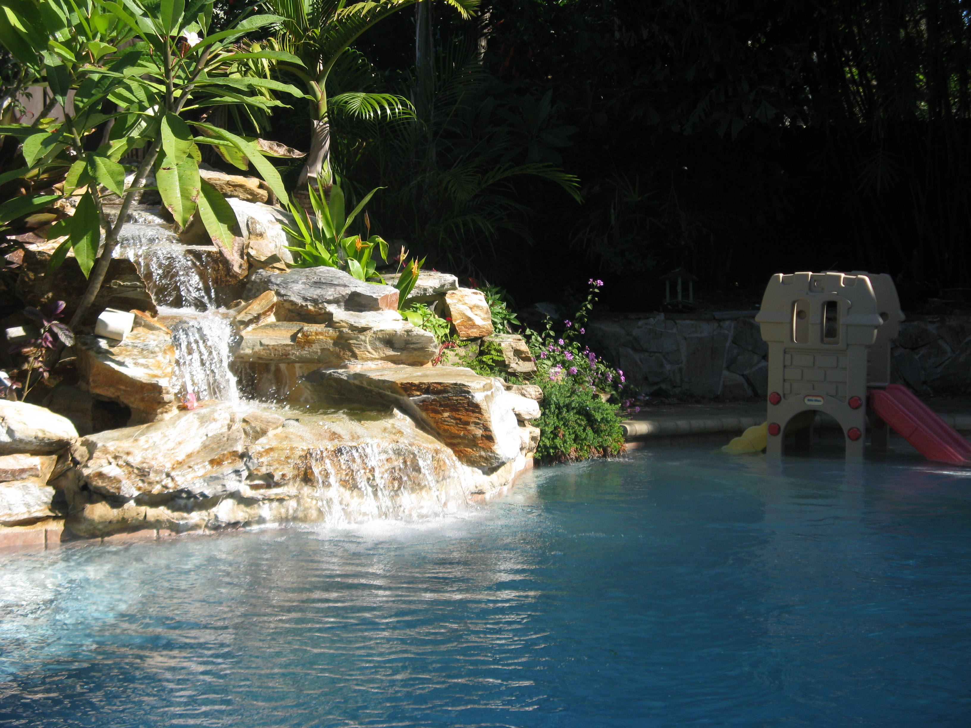 Real Rock Waterfall Landscape For Swimming Pool West Palm Beach Universal Landscape Inc