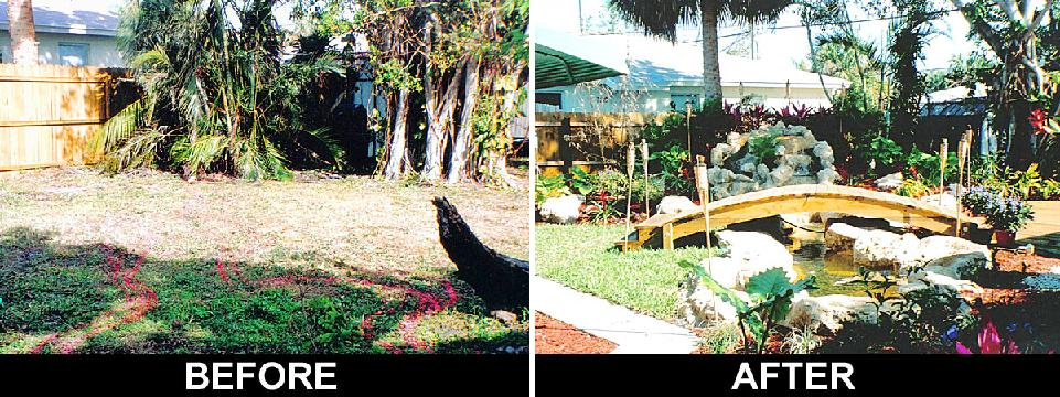 backyard landscape, before and after photos