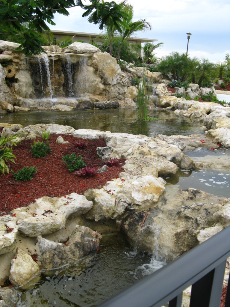 This photo shows a front view of a Resort / Park scale waterfall & landscape project we took from concept through completion.  We used natural real Florida Cap Rock for the feature which began with a Grotto feature, falling directly into a pond basin and leading to a stream as you can see. Photo taken from the bridge crossing over the stream, (rail is visible for bridge in lower right corner of photo).  We hope you like !   Universal Landscape, Inc.