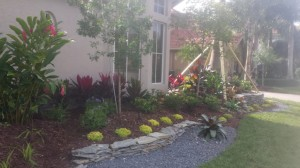 Landscape With Decorative Flagstone Wall For New Front Landscape