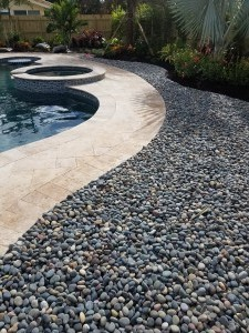 Mixed Mexican Beach Pebble Surrounding Swimming Pool