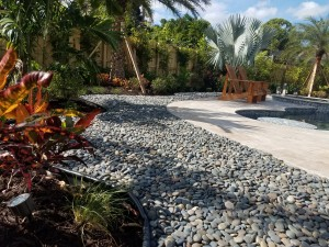 Tropical Pool Landscape & Decorative Stone Border