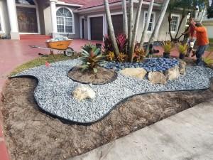 Decorative Stonework by Driveway