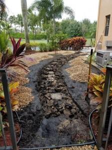 Landscape Stone Pathway Being Installed