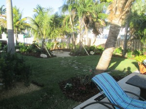 Backyard Tropical Fire Pit Area