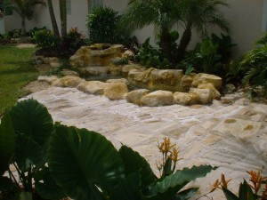 Front Yard With Waterfall & Tropical Landscape