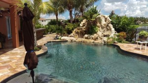 Swimming Pool Waterfall, Landscape, Outdoor Kitchen & Seating Areas